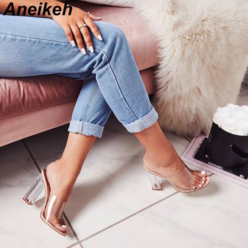 HTB1Me6ta2fsK1RjSszgq6yXzpXaa Aneikeh New Women Sandals PVC Jelly Crystal Heel Transparent Women Sexy Clear High Heels Summer Sandals Pumps Shoes Size 41 42