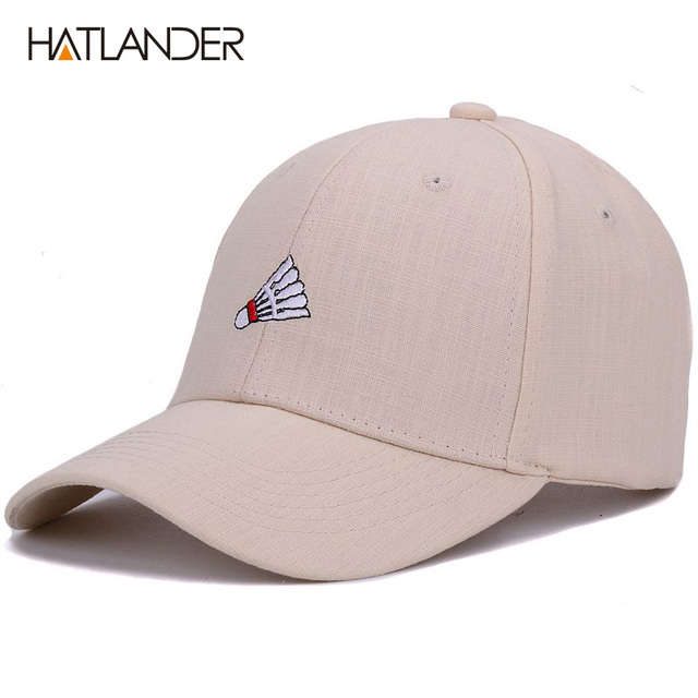 Hatlander embroidery badminton baseball cap curved summer snapback hats  bone sports casquette linen cotton hat for men women cap 12f6a364b65