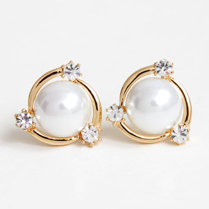 F&U Gold Plated Big White Pearl with Crystal Stud Earrings ...
