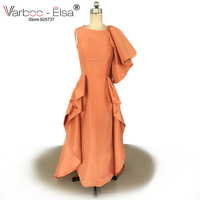 VARBOO_ELSA Robe Arabe Sexy O neck yellow evening dress with Bow Puff Short SleeveProm Dress 2018 Vestido De Formatura