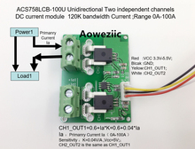 Aoweziic ACS758LCB-100U ACS758LCB ACS758 Unidirectional Two independent channels DC current detection module Rang:0A-100A