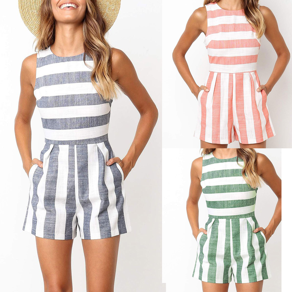 New style 2019 Summer Fashion Blue green gray pink stripes women's   jumpsuit   England style O-neck sleeveless Rompers