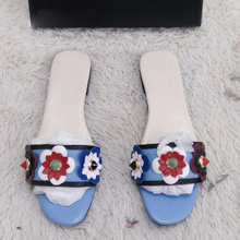 2017 Kaeve Genuine Leather Slippers Summer Rivet Flower Sandals Designer Flip Flops Women Flat Blue Fashion Slides