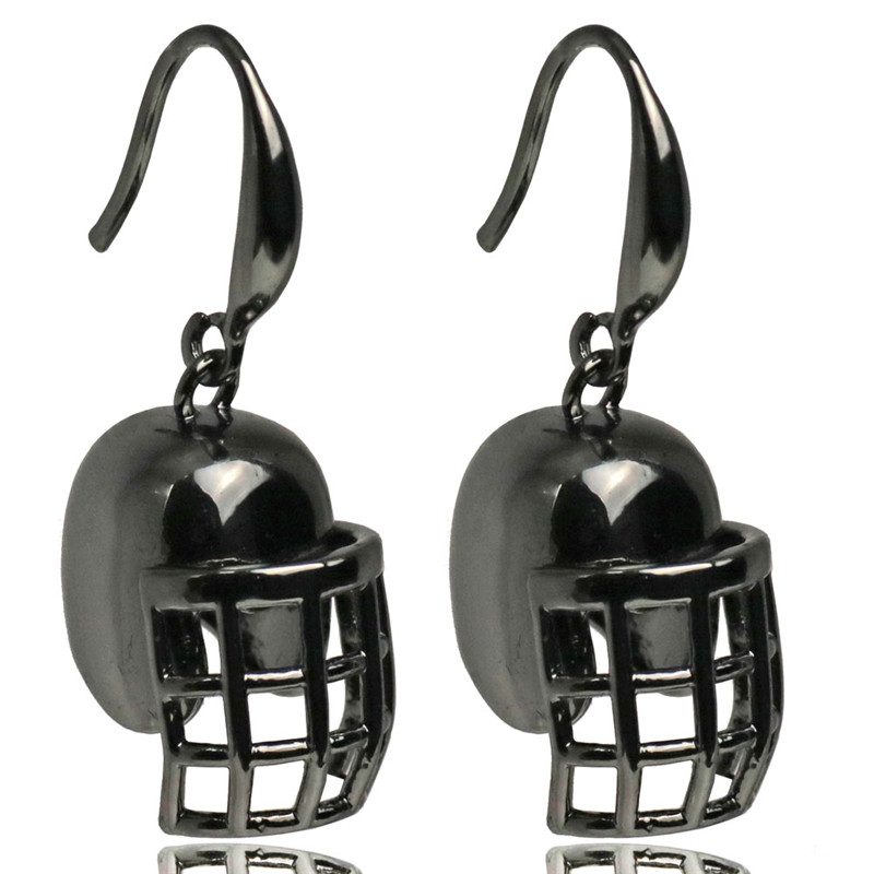 Women Sport Fitness Earrings Fashion Statement Long Black Color Drop Earrings Football Helmet Charms Women Gym Jewelry 2017