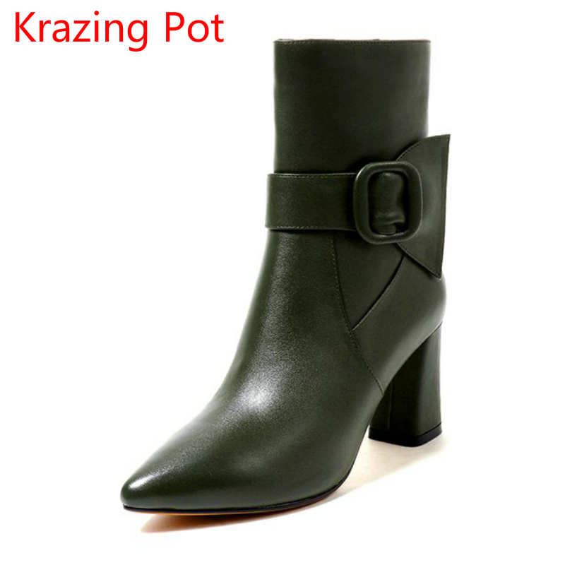 2018 New Arrivel Genuine Leather Metal Winter Shoes High Heels Pointed Toe Buckle Women Superstar Vintage Mid-calf Boots L60 double buckle cross straps mid calf boots