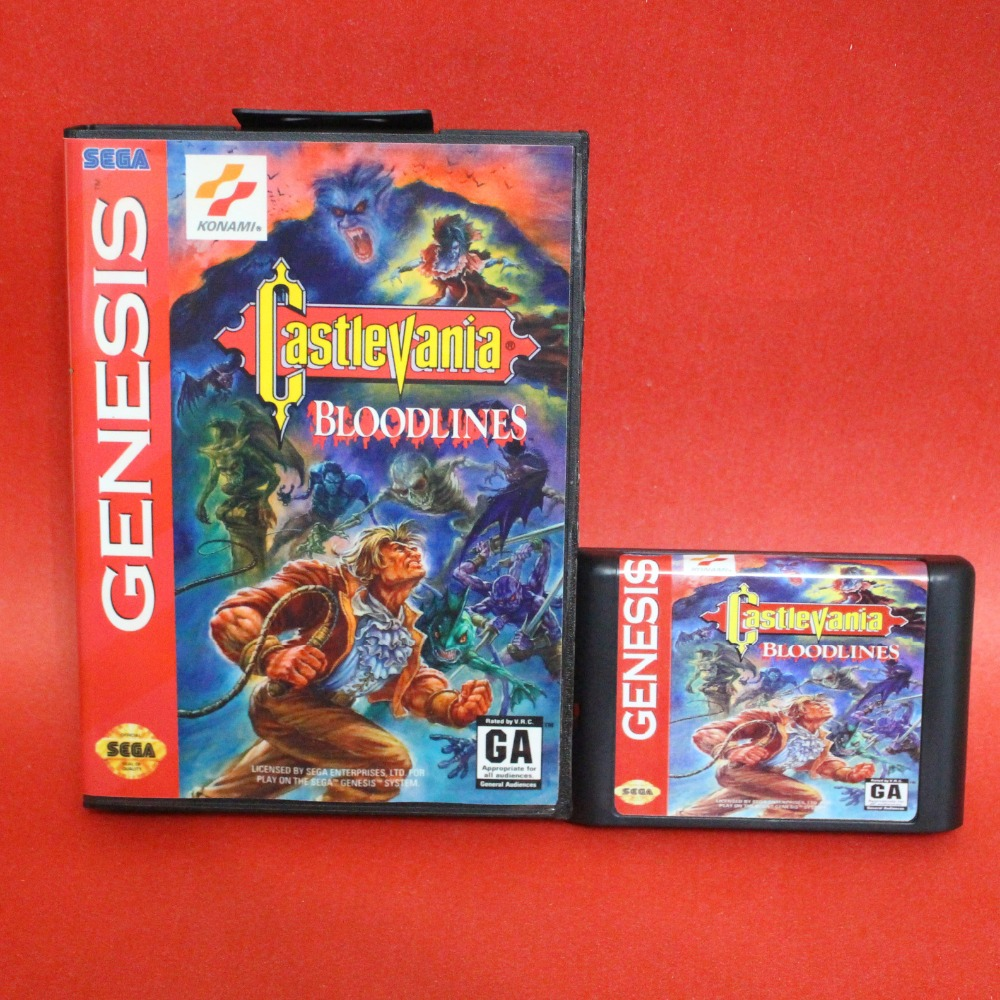 Castlevania Bloodlines NTSC-U 16 bit MD card with Retail box for Sega MegaDrive Video Game console system image