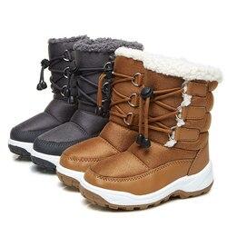 2018 обувь для девочек новое Зимние сапоги для мальчиков коричневый серый Детские зимние штаны теплые Удобная обувь Детские ботинки до серед...
