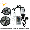 RGB LED Strip 5050 10m + IR 44Key Controller + DC12V 8A Adapter Flexible LED Light RGB Sets.