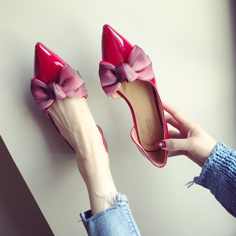 2019 Womens Shoes Flats Slip On Pointed Toe Casual Patent Leather Shallow Loafers Luxury Women Shoes