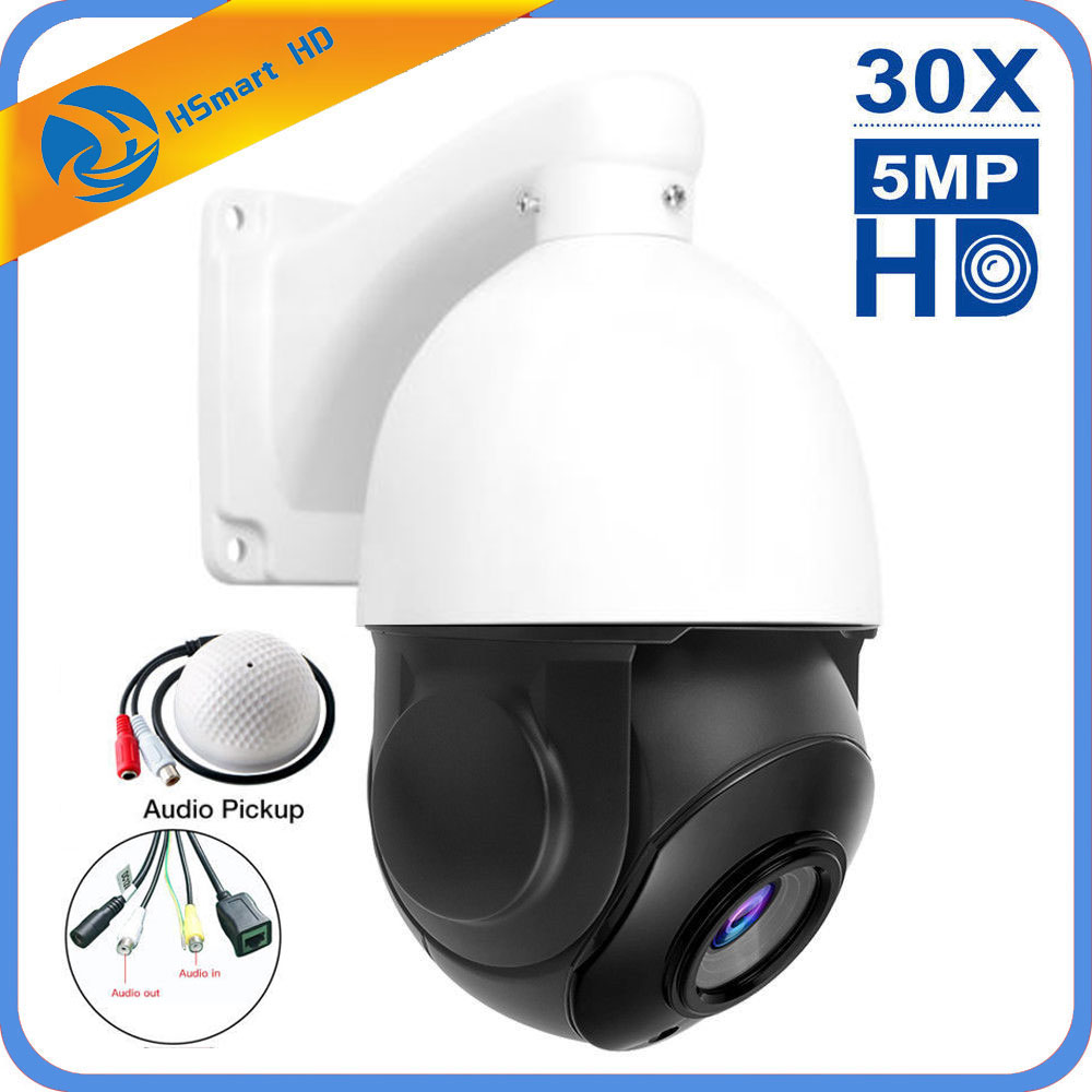 30X Zoom Built-in POE 5MP Outdoor HD PTZ IP Speed Dome Camera IR Night CMOS Audio H.264/H265 Compatible With HKVISION XM POE NVR