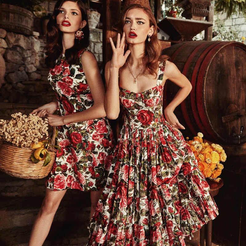 Летнее модное платье миди с цветочным принтом и розами 2019, женское элегантное многослойное платье с оборками без бретелек, вечерние платья до середины икры, платье для подиума