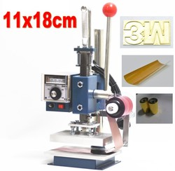 Maszyna stemplująca gorącą folią maszyna do tłoczenia skóry 2 w 1 z uchwytem foliowym (11x18 cm) + forma miedziana + folia + taśma samoprzylepna