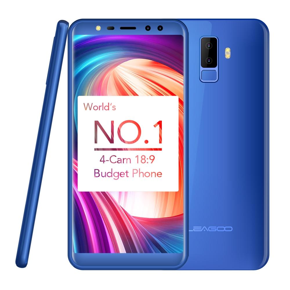 LEAGOO M9 5.5 18:9 Screen Smartphone Android 7.0 Four Cams 2850mAh RAM 2GB ROM 16GB MT6580A Quad Core Fingerprint Mobile Phone