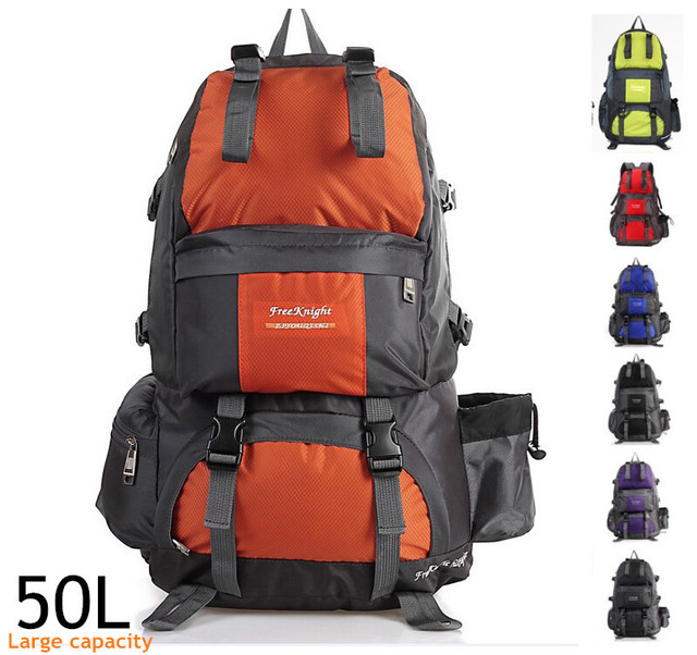50L Large-capacity waterproof outdoor travel men's women outdoor sport backpack Nylon camping mountaineering Hiking shoulder bag