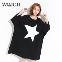 2017 Spring Summer Fashion White Black Star T Shirt Loose O Neck Batwing Sleeve Tops New
