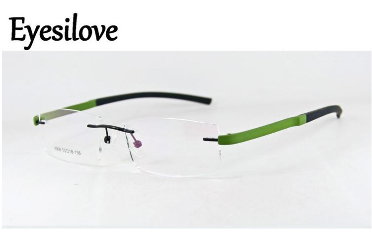 Eyesilove Ultra-light TR90 Acetate Optical Frames Alloy Rimless Eyeglasses For Men Women Prescription Myopia Glasses