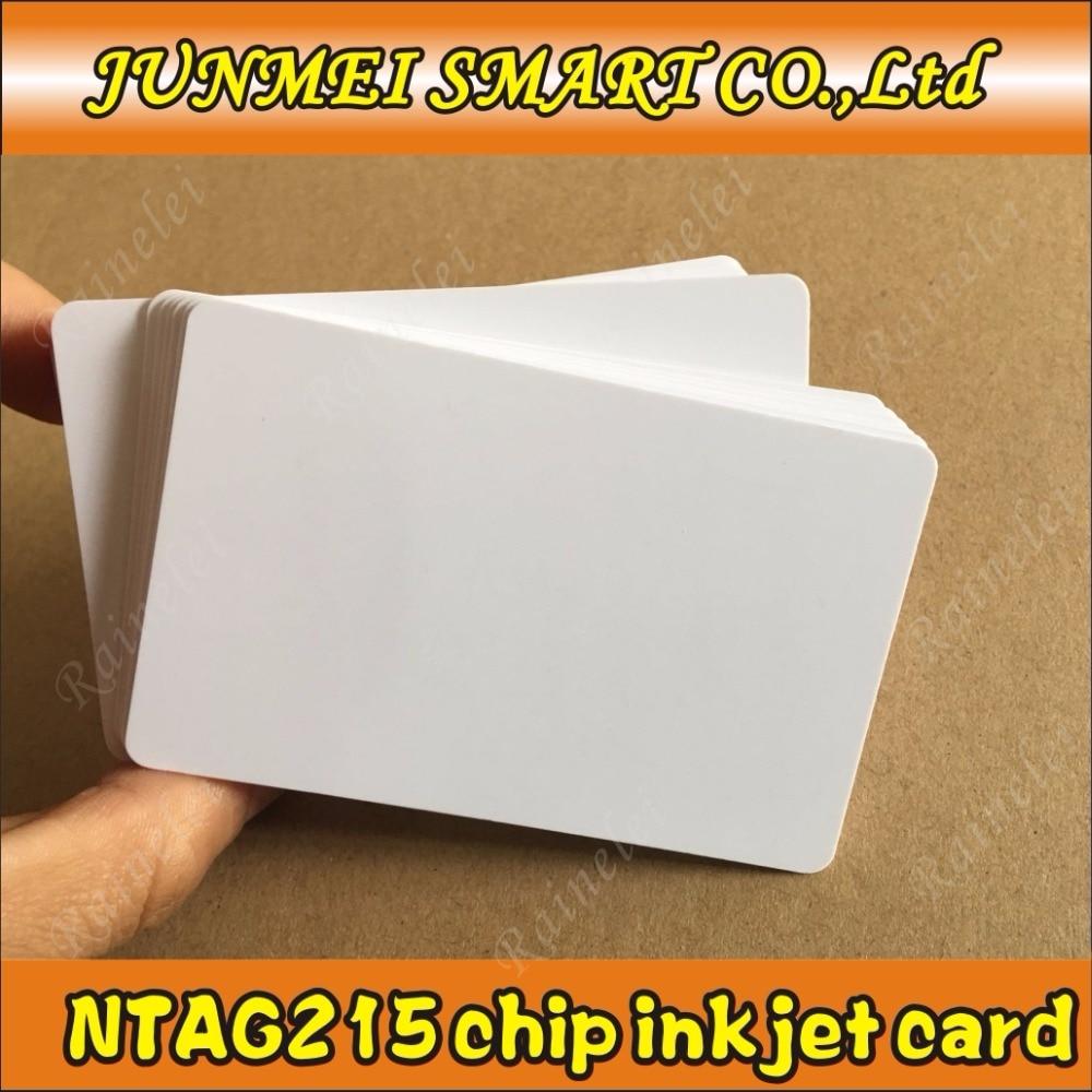 Free shopping 100pcs 500pcs 13 56Mhz Inkjet Printable PVC IC card nfc 215 card for Tagmo