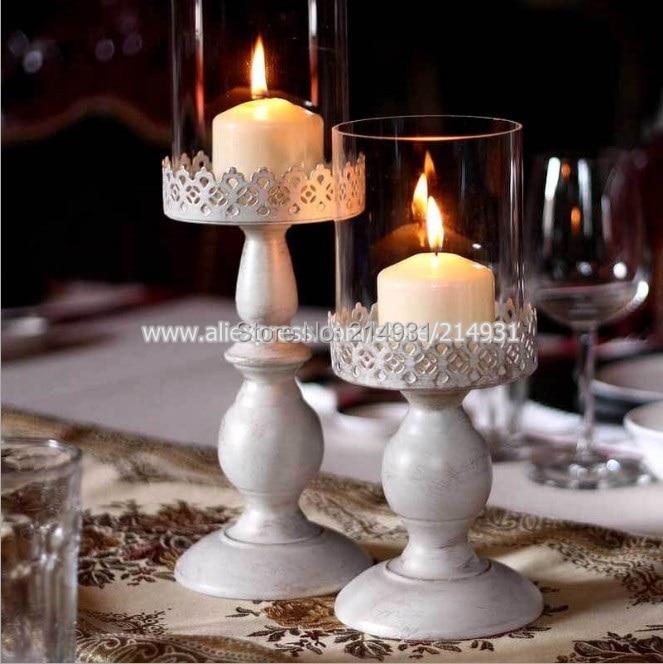 Vintage White Iron Candle Holder Wedding Centerpiece W Glass Shade European Bellocchi Carved