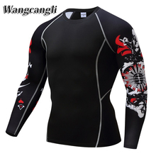 wangcangli of compressed breathable quick-drying long-sleeved man's T-shirt fitness skull man 3d t shirt tee shirt homme