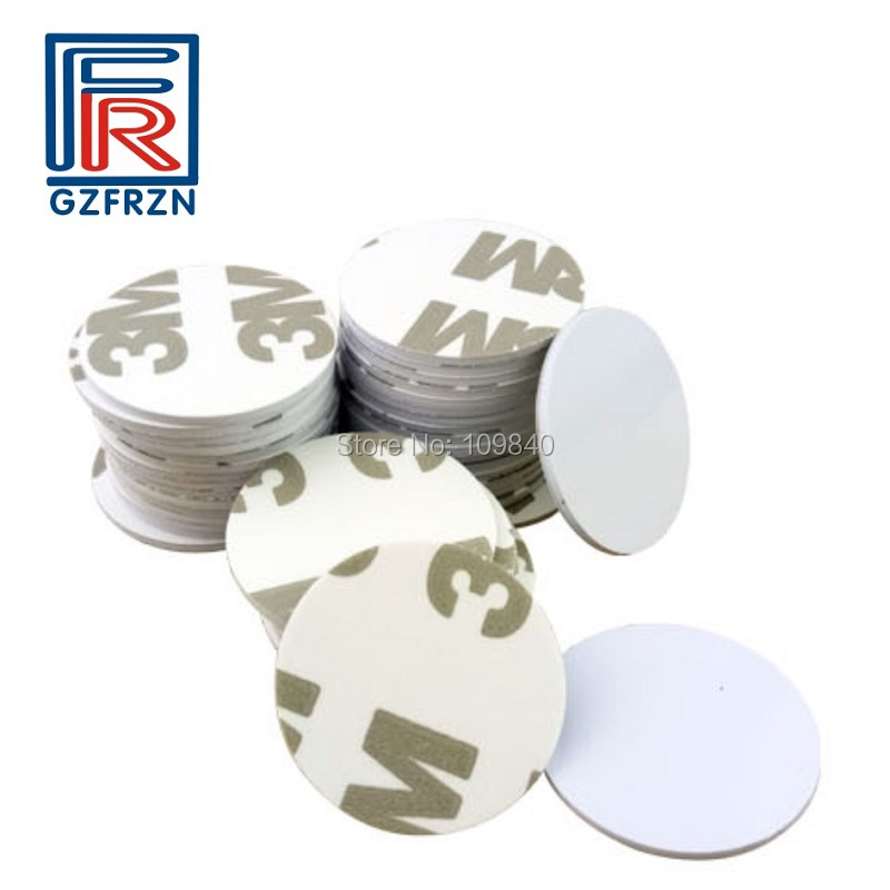 100pcs/lot 3M Sticker Round Shape 25mm NFC Tag Ntag216 888 Bytes PVC Coin Cards Used For Android,IOS And All NFC Phone
