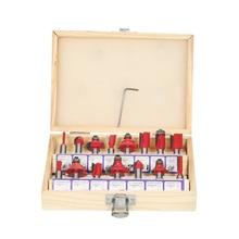 15 pçs fresa de madeira 8mm shank roteador bits conjunto cnc cortador fresas para madeira piso gravura ferramenta corte