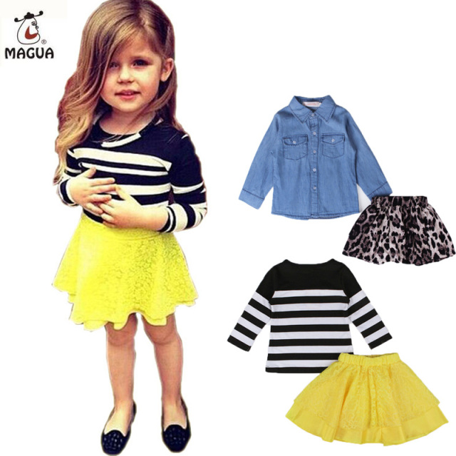 Baby Girls Clothes Long Sleeve Striped Top+Floral Lace Skirt 2 pcs Toddler Girls Clothing Set Summer Kids Costume For Girls
