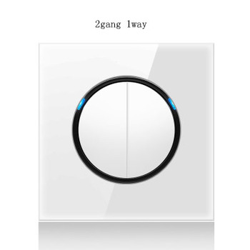 1 2 3 4 gang 2 way White Tempered glass switch Light pressure Wall Switch With LED lights France Germany socket household USB 19