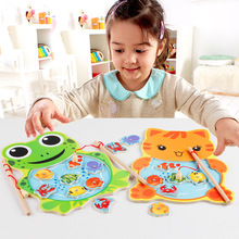 Montessori Toys for Children Wooden Early Educational Toys Kids 3D Magnetic Cartoon Animal Fishing interactive Game Development early educational toys wooden toys 32 piece set magnetic fishing game table game for children kids