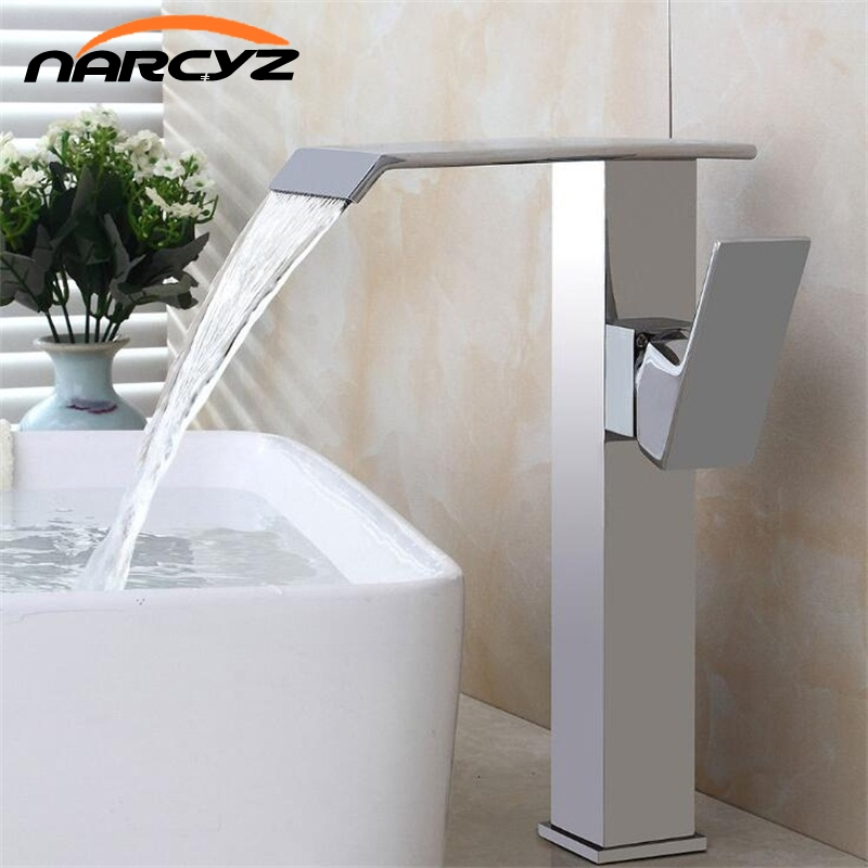 Basin Faucet Brass Black Waterfall Bathroom Sink Faucet Single Handle Big Square Lavatory Deck Hot Cold Mixer Tap Crane A1013 micoe hot and cold water basin faucet mixer single handle single hole modern style chrome tap square multi function m hc203