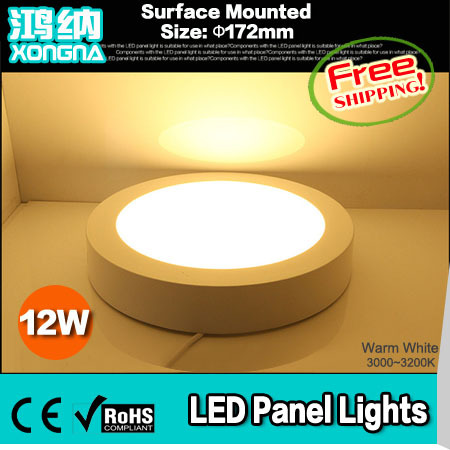 ФОТО Free Shipping 12W LED Panel Lights, Surface Mounted, AC85-265V, Warm White/Cold White, 60pcs*SMD2835,New Style LED Ceiling Light