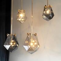 Modern minimalist polyhedron creative smoke gray glass single head pendant lamp Nordic diamond E14 bedroom LED lighting