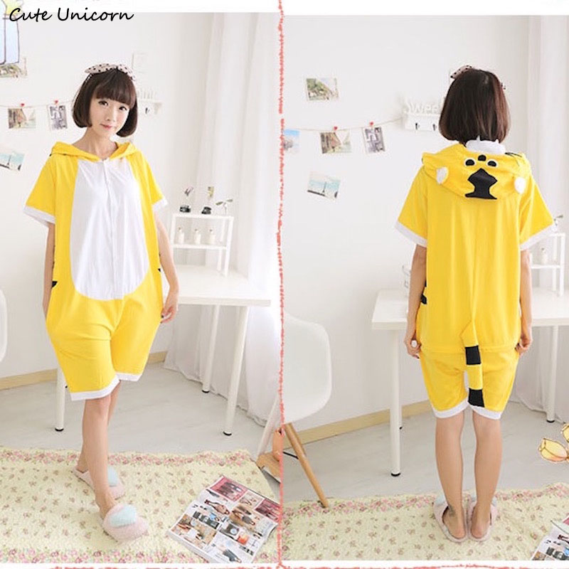 Cute Unicorn Yellow Tiger Short Sleeve Animal Pajamas Summer Unisex Adult Cosplay Pijamas Cartoon Onesies ladies homewear Pajama