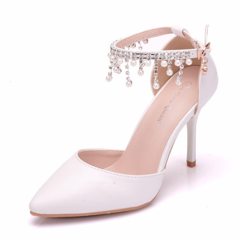 Tassels Beads Sandals Sharp Sandals White Sharp Shoe Woman High-heeled ShoesTassels Beads Sandals Sharp Sandals White Sharp Shoe Woman High-heeled Shoes