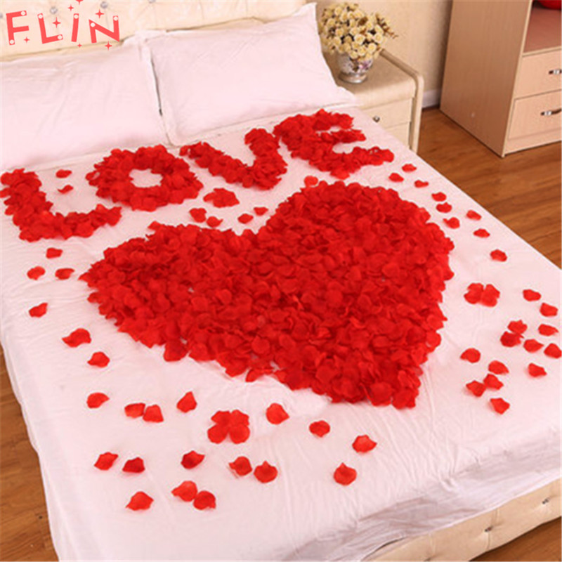 100 Pcs Colorful Silk Rose Petals Flowers Red Artificial Flower Wedding Engagement Decoration Valentine's Day Love Event Party