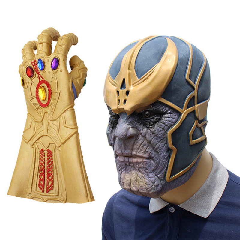 Avengers Infinity War Cosplay Costumes Thanos Latex Mask Glove Halloween Masks Fancy Party Props For Adult