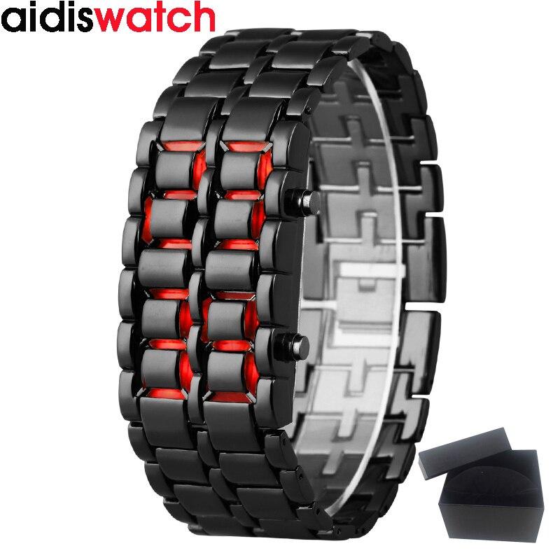 Jeunes sport montres étanche électronique de deuxième génération binaire LED numérique hommes montre alliage dragonne montre