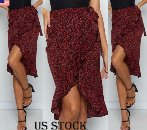 Hot Vintage Leopard Print Long Skirts Women High Waist Midi Skirt Bow Tie 2019 Summer Sexy Split Wrap Skirt Ladies Red Beach