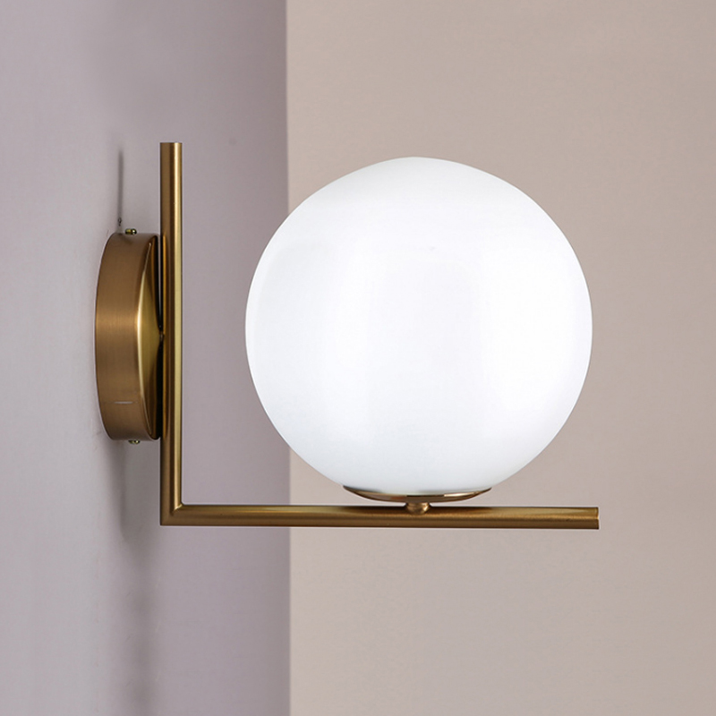 Modern Nordic Wall Lamp Acrylic Round Glass Ball Mounted Light LED Indoor Lighting for Restaurant Living Room Bedroom Corridor modern wall lamp glass ball led wall sconces bedside wall light fixture bedroom luminaria home lighting vintage lamp