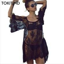 TOKITIND Saida De Praia Beach Cover Up Pareo Playa Coverup Dress Vestido Livre S