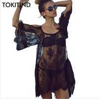 Tokitind saida da praia cobrir pareo playa vestido de coverup vestido de banho livre roupa de banho banho de renda branca mulher beachwear