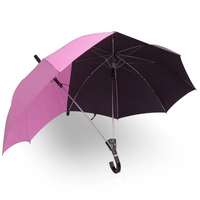 Pink and Black Two Person Umbrella Large Couples Umbrella Strong Two Head Double Size Rain Protection Gift for Lovers