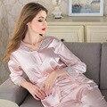 Mulheres pijamas de seda gelo 2017 high-end com cardigan seção fina longo-sleeved pijama terno casa frete grátis