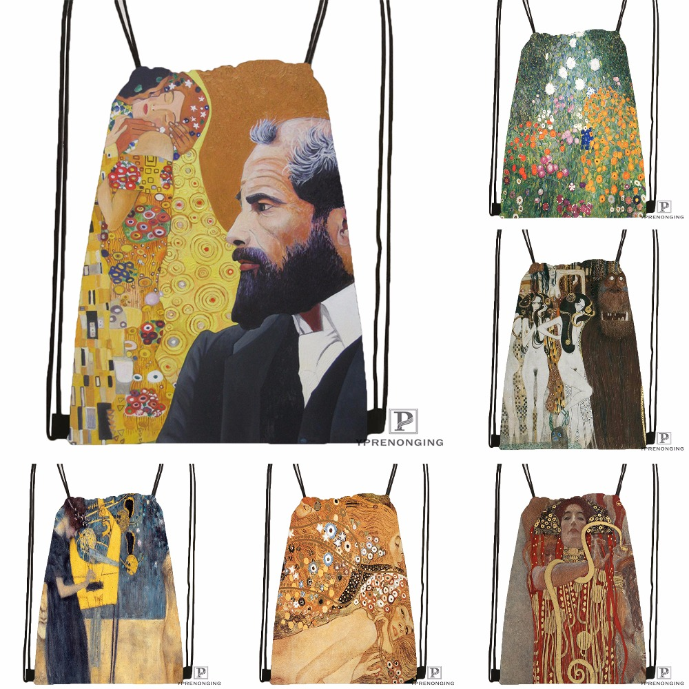 Custom Gustav Font Klimt Drawstring Backpack Bag Cute Daypack Kids Satchel (Black Back) 31x40cm#180531-03-57