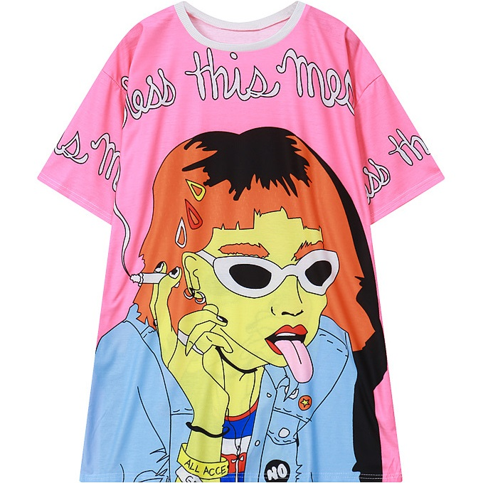 womens HARAJUKU t-shirt 2016 new street style smoking girl print short sleeve tee top for woman ladies tshirt oversized T Shirt