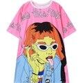Womens HARAJUKU camiseta 2016 nuevo estilo de la calle de fumar muchacha de la impresión camiseta de manga corta top para mujer camiseta de las señoras de gran tamaño T camisa