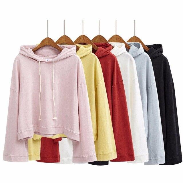9556b956926 harajuku hoodies women 2017 korean spring kawaii autumn hoodie candy colors  coats retro cute pink thin