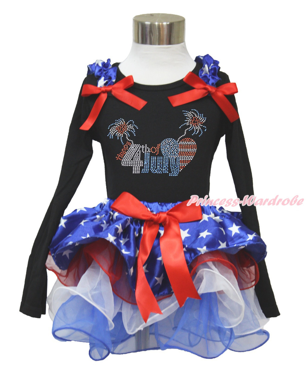 4th July Rhinestone Happy 4th July Black Long Sleeves Top Patriotic Star Red White Petal Pettiskirt NB-8Year MAMH231 happy star 88 5c m 34 39 red