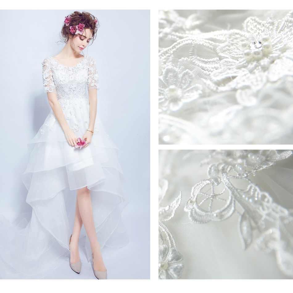 SOCCI Weekend 2018 Свадебные платья сексуальное кружевное цветочное сказочное короткое спереди длинное сзади открытое свадебное платье Формальные вечерние свадебные платья
