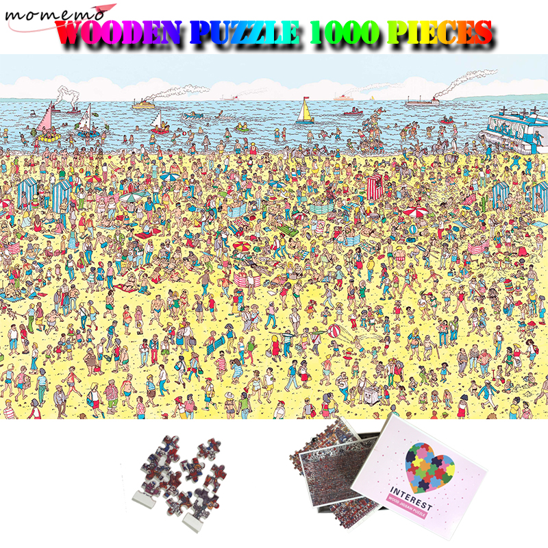 MOMEMO Sandy Beach Wooden Giant Jigsaw Puzzle 1000 Pieces Wood Puzzles for Adults Kids Teens Toys Gifts 1000 Piece Wooden Puzzle|Puzzles| |  - title=