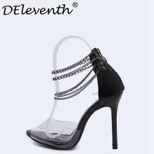 20e76cd5325 Combinação Cadeia DEleventh Altas Sandálias Mulheres Zipper de Salto  Stiletto Senhoras Sandalias Peep Toe Mulher Vestido